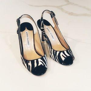 Manolo Blahnik - zebra stripe heels, size 35.5
